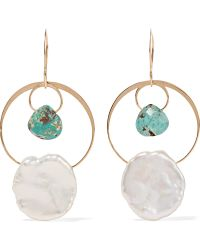 Melissa Joy Manning - 14-karat Gold, Turquoise And Pearl Earrings - Lyst