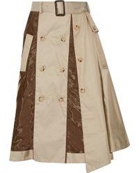 Facetasm - Satin-paneled Cotton-twill Skirt - Lyst
