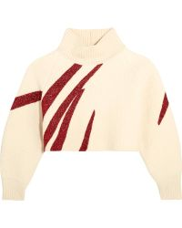 Vika Gazinskaya - Oversized Cropped Boiled Wool Jumper - Lyst