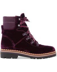 Sam Edelman - Browan Leather-trimmed Velvet Ankle Boots - Lyst