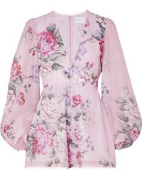 Alice McCALL - One By One Floral-print Cotton And Silk-blend Playsuit - Lyst