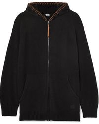 Loewe - Oversized Leather-trimmed Knitted Cashmere Hoodie - Lyst