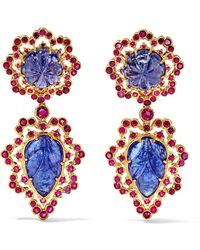 Buccellati - 18-karat Gold, Tanzanite And Ruby Earrings - Lyst