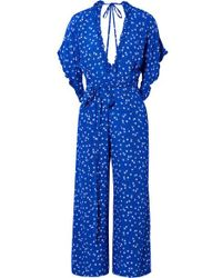 Faithfull The Brand - La Villa Tie-detailed Ruffled Floral-print Crepe Jumpsuit - Lyst