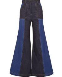 Paper London - Zweifarbige, Hoch Sitzende Jeans Mit Weitem Bein - Lyst
