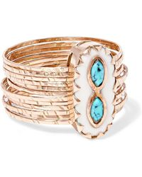 Pascale Monvoisin - Bowie 9-karat Rose Gold, Turquoise And Resin Ring - Lyst
