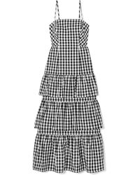 J.Crew | Dabble Tiered Gingham Cotton-poplin Midi Dress | Lyst