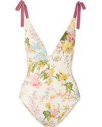 Zimmermann - Heathers Grosgrain-trimmed Floral-print Swimsuit - Lyst