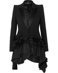 Alexander McQueen - Ruffled Taffeta And Satin-trimmed Crepe Blazer - Lyst