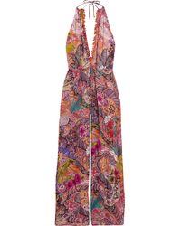 Etro - Embellished Printed Georgette Halterneck Jumpsuit - Lyst