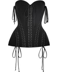 Dolce & Gabbana - Lace-up Satin-trimmed Stretch-tulle Bustier Top - Lyst