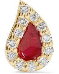 Alison Lou - Blood Drop Enameled 14-karat Gold Diamond Earring - Lyst