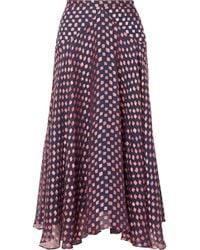 Saloni - Ida-b Fil Coupé Silk-blend Chiffon Midi Skirt - Lyst