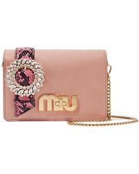 5c680bd432d1 Miu Miu - My Miu Embellished Watersnake-trimmed Textured-leather Shoulder  Bag - Lyst