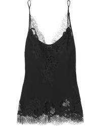 Carine Gilson - Moussalza Chantilly Lace-trimmed Silk-georgette Camisole - Lyst