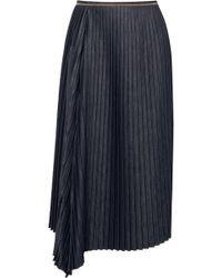Brunello Cucinelli - Embellished Pleated Denim Midi Skirt - Lyst