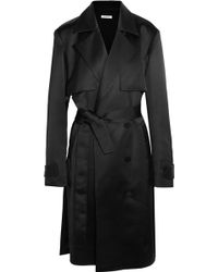 Protagonist - Double-breasted Satin Trench Coat - Lyst
