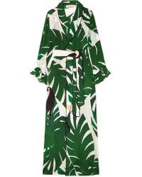 Adriana Degreas - Printed Silk Crepe De Chine Robe - Lyst