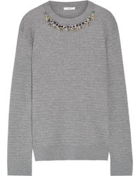 Erdem - Lana Crystal-embellished Cable-knit Stretch Wool-blend Sweater - Lyst