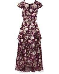 Alice + Olivia - Jenny Tiered Floral-print Fil Coupé Chiffon Maxi Dress - Lyst
