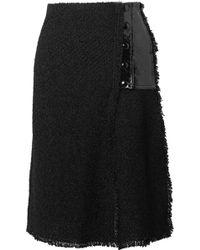 Sonia Rykiel - Faux Patent Leather-paneled Bouclé Skirt - Lyst