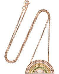 Andrea Fohrman - Large Rainbow 18-karat Rose Gold Multi-stone Necklace - Lyst