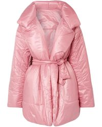 Norma Kamali - Belted Quilted Shell Coat - Lyst