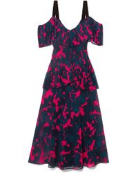 Jason Wu - Cold-shoulder Pleated Floral-print Chiffon Midi Dress - Lyst