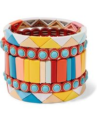 Roxanne Assoulin Cinque Terre Set Of Five Enamel Bracelets - Yellow