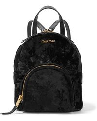 Miu Miu - Leather-trimmed Velvet Backpack - Lyst