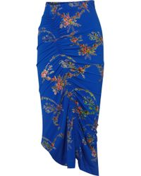 Preen By Thornton Bregazzi - Tracy Ruched Floral-print Stretch-crepe Midi Skirt - Lyst