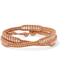 Chan Luu - Leather And Gold-tone Beaded Wrap Bracelet - Lyst