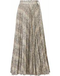 Awake - Stephanie Pleated Snake-print Cotton Midi Skirt - Lyst