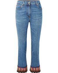 Etro - Cropped Embroidered High-rise Flared Jeans - Lyst