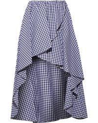 Caroline Constas   Adelle Ruffled Gingham Cotton-poplin Skirt   Lyst