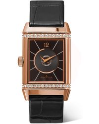 Jaeger-lecoultre - Reverso Classic Duetto Medium Rose Gold, Diamond And Alligator Watch - Lyst