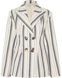 Rejina Pyo - Nicole Double-breasted Striped Cotton-chambray Blazer - Lyst