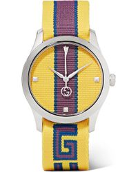 Gucci - Striped Canvas And Stainless Steel Watch - Lyst