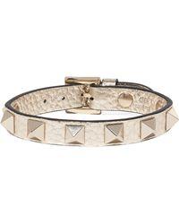 Valentino - Garavani The Rockstud Metallic Textured-leather Bracelet - Lyst