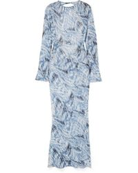 Georgia Alice - Giselle Open-back Printed Cotton And Silk-blend Crepon Maxi Dress - Lyst