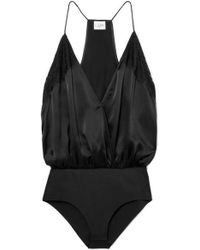 Cami NYC - The Courtney Lace-trimmed Silk-charmeuse Bodysuit - Lyst