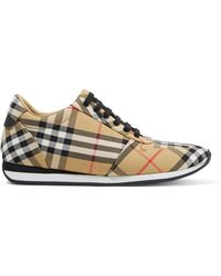Burberry - Leather-trimmed Checked Canvas Trainers - Lyst