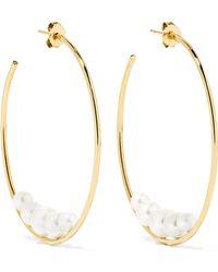 Mizuki - 14-karat Gold Pearl Hoop Earrings - Lyst