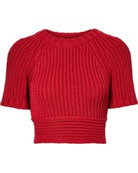 RED Valentino - Cropped Tie-back Ribbed Cotton Sweater - Lyst