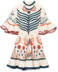 Chloé - Ruffled Printed Silk Mini Dress - Lyst
