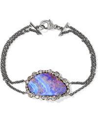 Kimberly Mcdonald - 18-karat Blackened White Gold, Opal And Diamond Bracelet White Gold One Size - Lyst