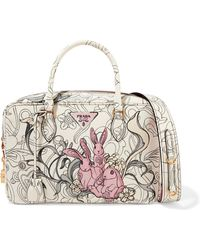 Prada - All Designer Products - Bauletto Printed Textured-leather Tote - Lyst