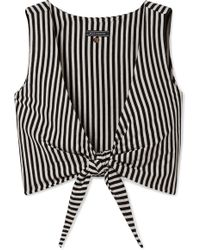 MDS Stripes - Clair Cropped Tie-front Striped Cotton-jersey Top - Lyst