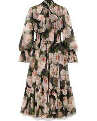 Dolce   Gabbana - Pussy-bow Floral-print Silk-chiffon Dress - Lyst 32cf6c5368e
