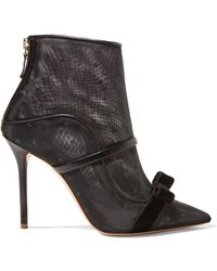 Malone Souliers - Claudia 100 Velvet And Leather-trimmed Point D'esprit Mesh Ankle Boots - Lyst